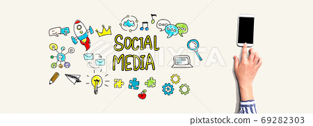 Social media with person using smartphone 69282303