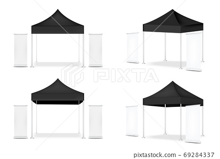 3D Mock up Realistic Tent Display POP Booth and Roll up. Banner  for Sale Marketing Promotion Exhibition Background Illustration 69284337