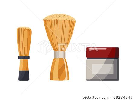 Barbershop equipments. Vintage barber shop set items. Modeling styling gel styling and bones. Haircuts salon design elements 69284549