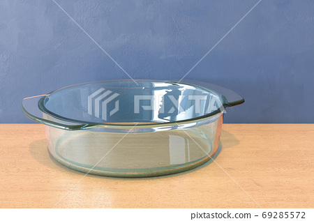 Round Clear Glass Baking Dish on the wooden table. 3D rendering 69285572