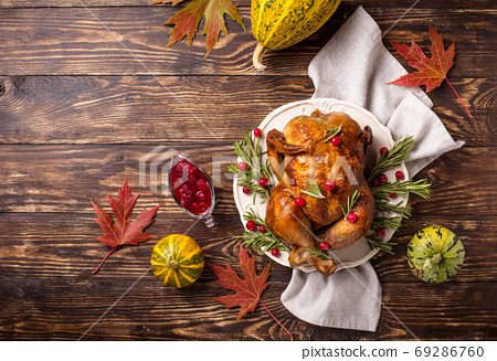 Baked turkey or chicken for holiday 69286760