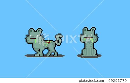 Pixel art cartoon zombie cat characters. 69291779