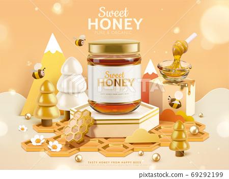 3D miniature honey ad template 69292199