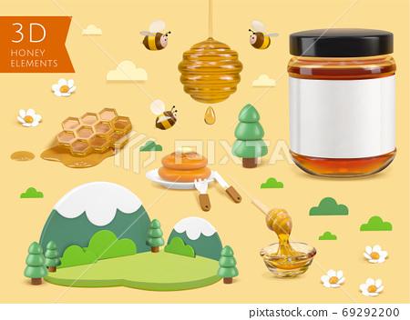 3D miniature honey element set 69292200