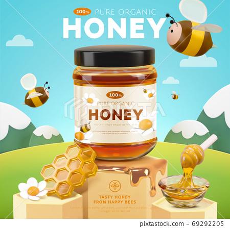 3D miniature honey ad template 69292205
