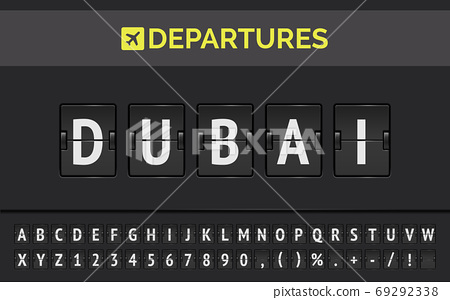 Airport flip board of flight to Dubai in UAE. Vector illustration of departures mechanical board 69292338