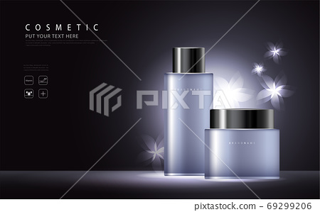 cosmetic product poster, bottle package design with collagen and moisturizer cream or liquid, sparkling background with glitter polka, vector design. 69299206