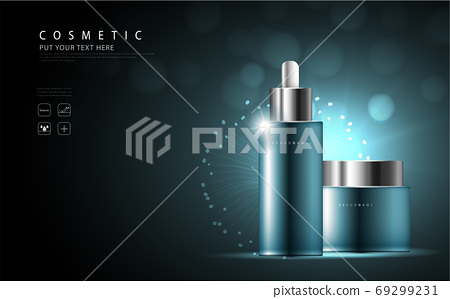 cosmetic product poster, bottle package design with collagen and moisturizer cream or liquid, sparkling background with glitter polka, vector design. 69299231