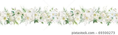Winter floral vector garland border, Watercolor Flowers Christmas season frame, holiday seamless background, with rowan berries, pine branch, ranunculus, xmas decoration banner 69300273