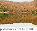 山和另一個世界的秋葉映在水面上 69300813