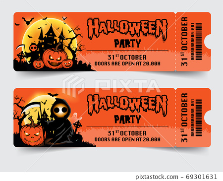 Halloween night party background with full Moon, Halloween ticke 69301631