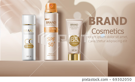 Sunscreen body spray and cream in beige color. Product placement mockup 69302050