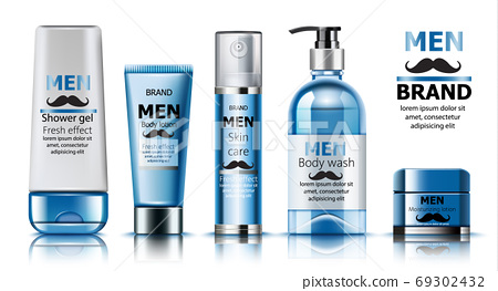 Composition of shower gel, body lotion, skin care oil, wash soap and moisturizing lotion for men. Place for text. Fresh effect. Moustache decoration. Realistic. 3D Mockup 69302432