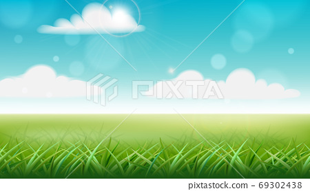 Peisage of a meadow. Green grass and blue sky with clouds. Vector 69302438
