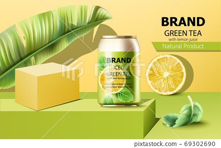 Composition of a can of iced green tea on podium surrounded by mint, lemon slice and tropical leaf. With place for text. Realistic 69302690