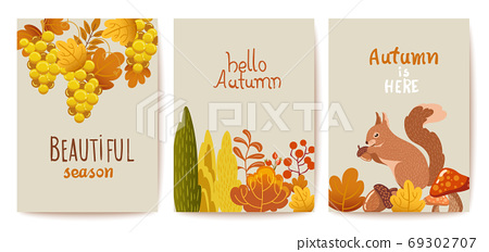Set of autumn thematics cards. Grapes, bushes, leaves, twigs, squirrel, mushrooms and acorn 69302707
