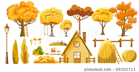 Set of trees, bushes, house, haystacks, lantern and flower. Autumn thematics 69302711