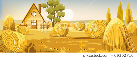 Peisage of a field with haystacks. Autumn season. Old farm house 69302716