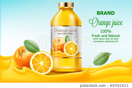 Bottle with fresh and natural juice submerged in flowing orange extract. With place for text. Realistic 69302821