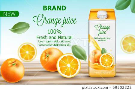 Carton box with orange juice surrounded by citruses and leaves. With vitamin from real fruit. Fresh and natural product. With place for text. Realistic 69302822