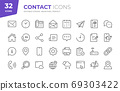 Contact Line Icons. Editable Stroke. Pixel Perfect. 69303422