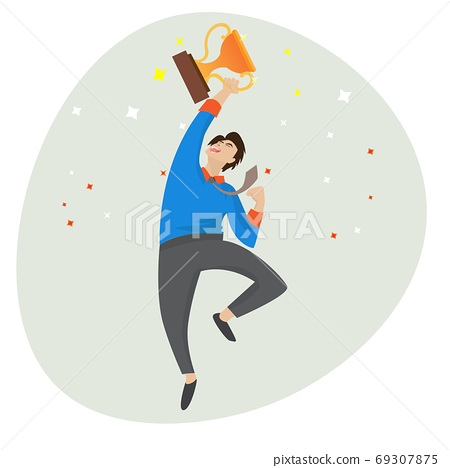 The business man was celebrating and jumping with a trophy in his hand, enjoying business victories. Business concept success vector illustration 69307875