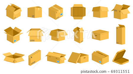 Storage cardboard boxes. Packaging delivery cardboard box, brown postal parcel package, open and closed recycling boxes vector illustration set 69311551