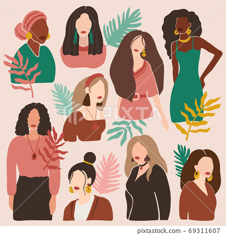Female abstract portraits. Modern woman hand drawn contemporary silhouettes, trendy freehand fashion girls portraits vector illustration set 69311607