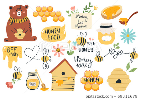 Cute honey symbols. Hand drawn honey jar, honeycomb and bee insects, funny honey doodle beekeeping farm isolated vector illustration set 69311679