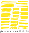 Yellow marker stroke. Highlight marker stroke lines, bright permanent marker sketch, doodle highlight marker lines vector illustration signs set 69312298