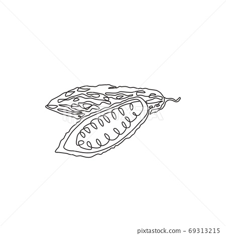 Single continuous line drawing of whole and sliced healthy organic bitter gourd for garden logo identity 69313215