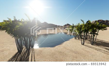 3d rendering - Oasis in the desert 69313942