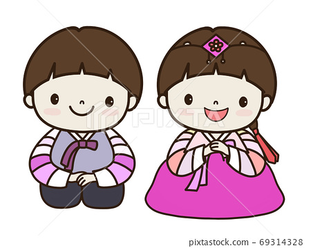 兒童韓服韓服兒童人物兒童穿著韓服 69314328