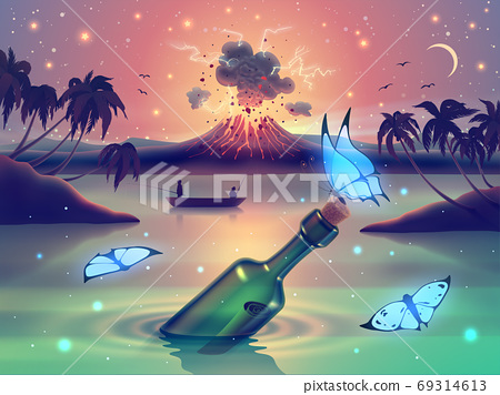 Fantasy nature landscape with blue neon glow butterflies against magic lake, river or sea and erupting volcano on island, palm trees silhouette and starry sky in vector. 69314613