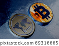 Ripple and Bitcoin coins cryptocurrency 69316665