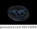 Ripple coin on black background 69316666
