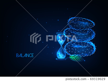 Futuristic balance, time management concept with glowing low polygonal balancing rocks and hourglass 69319029