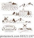 插圖素材:復古的歐洲風景/葡萄園/鄉村風景/風車/農場線圖集 69321197