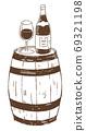 復古和時尚的線條畫插圖材料:酒杯,酒瓶和酒桶 69321198