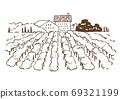 插圖素材:復古時尚的歐洲風景/葡萄園/鄉村風景 69321199