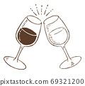 復古和時尚的線條畫插圖素材:帶酒杯的歡呼聲 69321200