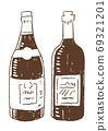 復古和時尚的線條畫插圖素材:酒瓶 69321201