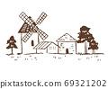 插圖素材:景觀草圖/線條圖/帶有復古風車的鄉村景觀 69321202