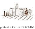 復古和時尚的插圖素材:歐洲建築/鄉村/線條圖 69321461