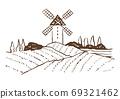 復古和時尚的插圖素材:風車/葡萄園/線描的歐洲鄉村 69321462