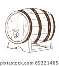 復古和時尚的插圖素材:畫線酒桶 69321465
