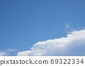 여름 하늘과 비행기 구름 - 가로와 세로의 차이가 있습니다 69322334