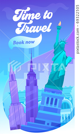 Time to Travel Typography Banner. Visit New York 69322505