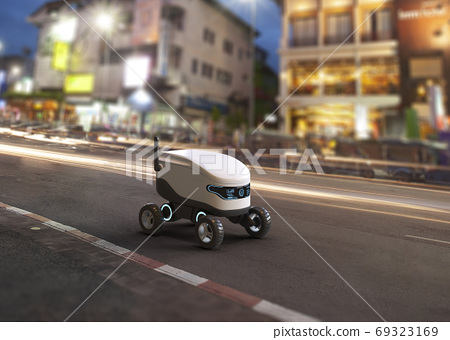 Self-driving delivery robot concept. 3D illustration 69323169