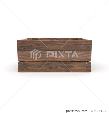 Wooden crate on white background 69323195